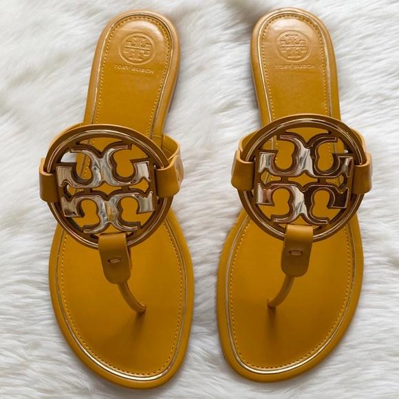 0fe8a78c09ae Tory Burch Miller Metal Logo Sandal in Goldenrod